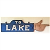 To Lake Hand Finger Pointing Wood Handmade Sign