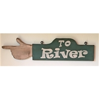 To River Hand Finger Pointing Wood Handmade Sign...