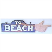 To Beach Hand Finger Pointing Wood Handmade Sign...