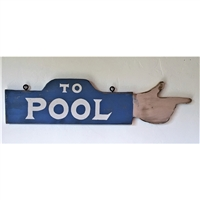 To Pool Hand Finger Pointing Wood Handmade Sign...