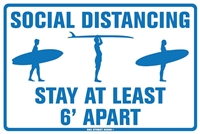 18x12 Aluminum surf sign that says stay 6 feet apart social distancing surfer surfboard corona Virus signCorona Virus sign. funny corona sign. be safe corona sign