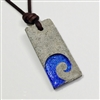Concrete necklace, concrete jewelry design made of concrete and blue Dichroic glass pendant. The Wave design is made using sandblasting and casting a layer of high quality jewelry concrete. The necklace is 2mm brown leather cord.The glass Is a...
