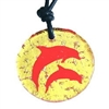 Beautiful Fused Round Dichroic Glass Dolphins Pendant.This fun and unique Dichroic Glass Dolphins pendant is sure to lift your spirits and set you apart from the crowd. Available in Gold or Blue . Proudly Made In The U.S.A....