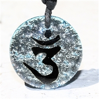 Round Dichroic Glass Om Pendant Beautiful handmade Dichroic Glass Pendant with the Hindu om symbol. Find your own inner being with this highly personal and exquisite pendant.Zulasurfing dichroic glass  is the most unique glass in the...