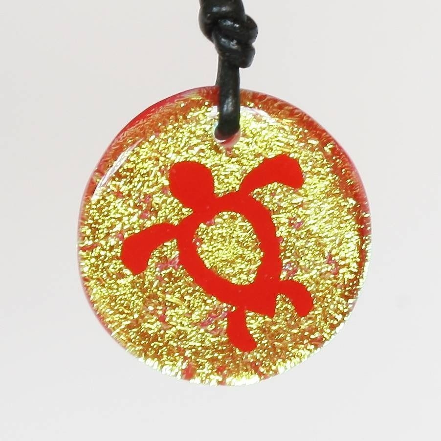 Sea Turtle Handmade Glass Pendant Necklace