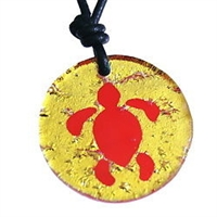 Beautiful Handmade Gold Color Dichroic Glass Pendant with The Hawaiian Sea Turtle Solid Design. This fun and unique Sea Turtle pendant is sure to lift your spirits and set you apart from the crowd.ZulaSurfing Designs are Handmade in our New York...