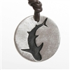 Shark Necklace Thick style round Shark silhouette pendant with thick 2mm brown distressed leather, adjustable knot system will fit up to 24 inch long. The shark Pendant is a carved out shark silhouette painted in black.Size: is about 1 inch...