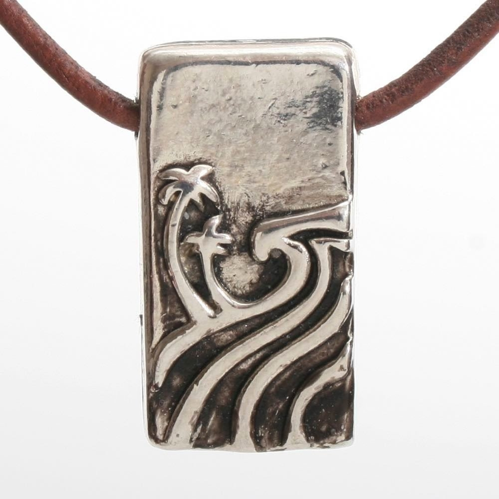 Rectangular pewter hawaiian north shore wave pendant necklace by rectangular pewter hawaiian north shore wave pendant necklace by zula surfing aloadofball Image collections