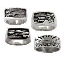 Mens Surf and Wave Rings Jewelry