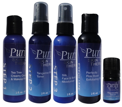 Certified Pure Organic Essential Oils | Natural Skin Care | Tea Tree Creamy Cleanser, Tangerine Blast Toner, Silk Moisturizer, Rejuvenating Serum | Purify Skin Therapy
