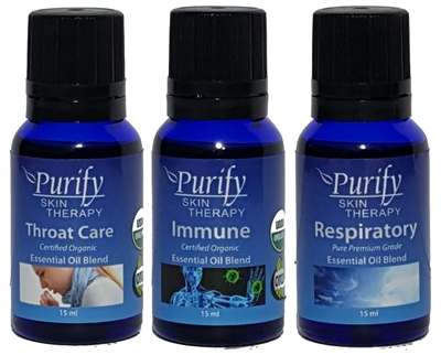 Illness Pack includes Essential Oil Blends, Throat Care, Immune, Respiratory by Purify Skin Therapy