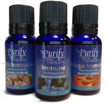Immune trilogy pack includes immune, mega immune, kids immune essential oil blends | Purify skin therapy