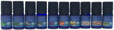 TOP 10 ESSENTIAL OILS PACK, includes Orange, Lemon, Spearmint, Peppermint, Eucalyptus radiata, Frankincense, Lavender, Myrrh, Tea Tree, Lemongrass essential oils by purify skin therapy, 100% pure, certified organic & wildcrafted essential oils