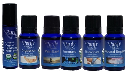 TRAVEL-PACK, includes Headache Relief Serum, Pain Ease, Digestion, Immune, Throat Care, Wound Repair essential oil blends by purify skin therapy, 100% pure, certified organic & wildcrafted essential oils