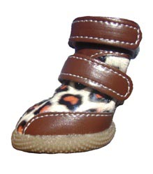 Faux Leather & Suede Waterproof Winter Dog Boots - Leopard Print - Size 1