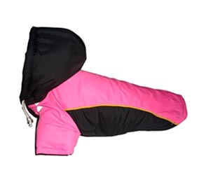 Dog Winter Jacket - Black & Pink - Size 2