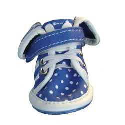 Polka Dots & Flowers Doggie Sneakers - Blue - Size 1
