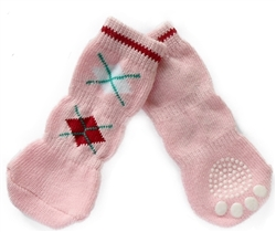 Dog Socks Pink Argyle