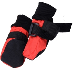 Soft Sole Waterproof Winter Dog Booties - Red - Small