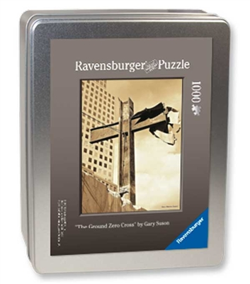 """The World Trade Center Cross"" Puzzle<br/> 1000-Pieces in a Collector's Tin<br/>  Final Size: 27 in. x 20 in.<br/>  Ravensburger Puzzles"