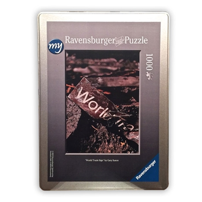 """World Trade Center Sign"" <br/>1000-Pieces in a Collector's Tin<br/>Final Size: 27 in. x 20 in.<br/> Ravensburger Puzzles"