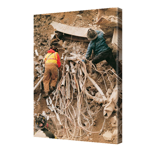 """Searching the Rubble"" Canvas 24 in. x 36 in."