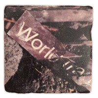 World Trade Sign Marble Coaster Set