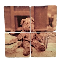 The Muddy Teddy Bear Italian Marble Coaster Set