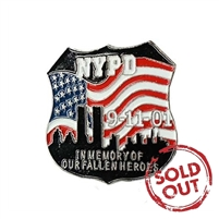 NYPD 9-11-01 In Memory of Our Fallen Heroes Shield Pin