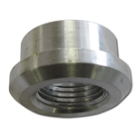 "AN ALUMINUM ADAPTER - 3/8"" FEMALE WELD-ON BUNG PIPE THREAD"