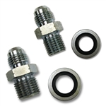 POWER STEERING BOX FITTING SET: -6 JIC TO 14MM Bump Steer O-Ring and -6 AN Male to 16MM Bump Steer O-Ring