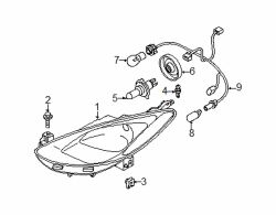 Mazda 2 Right Headlamp assy rivet | Mazda OEM Part Number B092-51-833