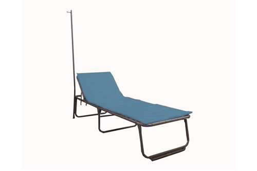 F-EM-26221-100 - ECONOMY PORTABLE FIELD HOSPITAL BED / COT WITH FR MATTRESS & IV POLE
