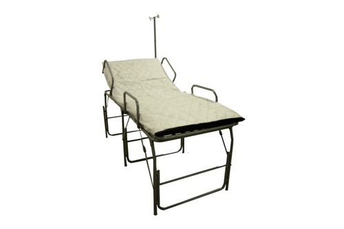 F-EM-262A-SR100 - ECONOMY PORTABLE FIELD HOSPITAL BED / COT WITH FR MATTRESS & IV POLE