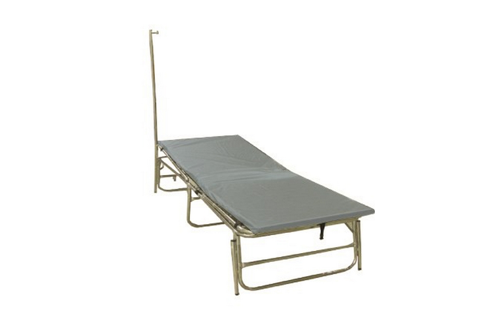 F-EM-50019-100 - PREMIUM PORTABLE FIELD HOSPITAL BED / COT WITH FR MATTRESS & IV POLE