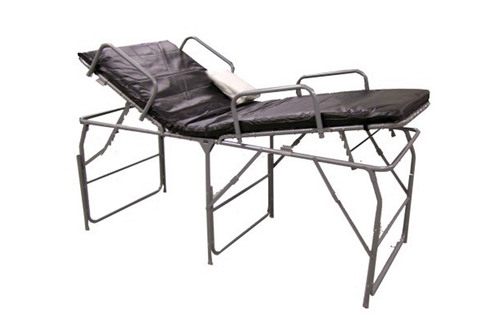F-EM-560A-R100 - PREMIUM PORTABLE FIELD HOSPITAL BED / COT WITH FR MATTRESS & IV POLE
