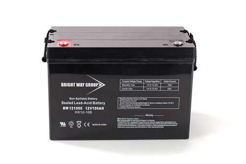 Bright Way Group BW 121000 Z (Group 27) 100Ah 12V (@10hr) AGM Sealed Lead Acid Battery