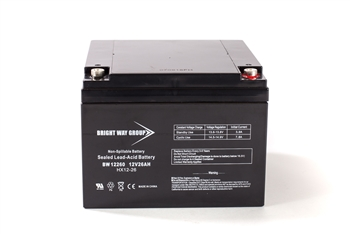 Bright Way Group BW 12260 NB 26Ah 12V (@10hr) AGM Sealed Lead Acid Battery