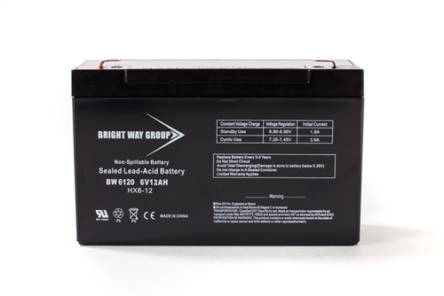 Bright Way Group BW 6120 F2 12Ah 6V AGM Sealed Lead Acid Battery