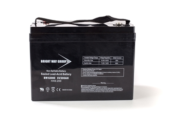 Bright Way Group BW 62000 (Group 27) 200Ah 6V AGM Sealed Lead Acid Battery