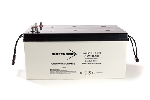 Bright Way Group BW EV8D-330A 330Ah 12V (@10hr) AGM Sealed Lead Acid Battery