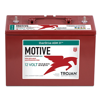 Trojan Motive OVERDRIVE-AGM-31 102Ah 12VDC Group 31 Deep Cycle AGM Battery