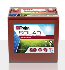 Trojan SAGM 08 165 > 8V, 174Ah, Solar Deep-Cycle AGM Battery