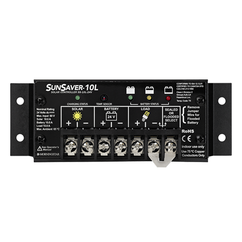 Morningstar SunSaver SS-10L-24V 10 Amp 24VDC PWM Charge Controller w/ Low Voltage Disconnect