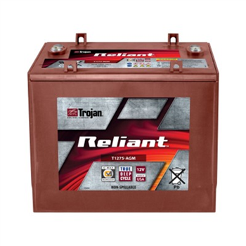 Trojan Motive T1275-AGM 132Ah 12VDC Group GC12 Deep-Cycle AGM Battery