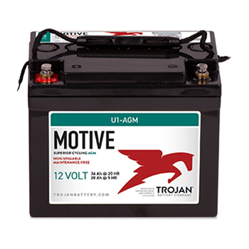 Trojan Motive U1-AGM 34Ah 12VDC Group U1 Deep-Cycle AGM Battery