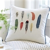 pillow square linen embroidered feathers navy indigo border cording aviary bird Taylor Linens