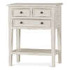 Bramble eton white finish three drawer side table mahogany lower shelf