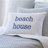 pillow long lumbar white linen navy indigo embroidery beach house Taylor Linens