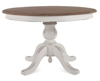 Bramble farmhouse white harvest driftwood finish round pedestal table mahogany